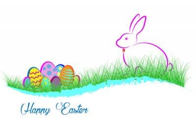 Frohe Ostern. Kaninchen und Eier im grünen Gras