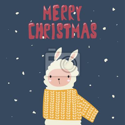 Frohe weihnachten feiertagskarte mit lama. vektor hand gezeichnet ...