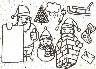 Frohe Weihnachten lustige Doodle-Set mit Urlaub singt und Symbole.