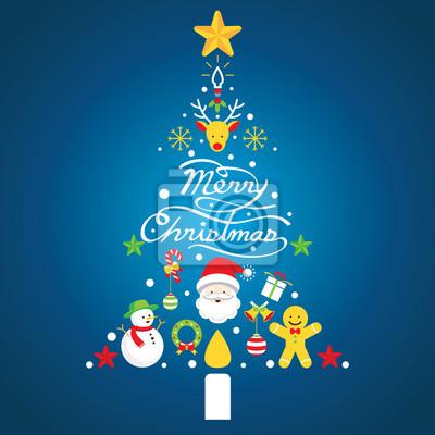 Sticker Frohe Weihnachten, Symbole in Weihnachtsbaumform