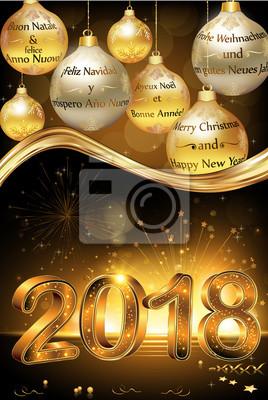 Frohe Weihnachten Und Ein Glückliches Neues Jahr In Allen Sprachen.Sticker Frohe Weihnachten Und Ein Glückliches Neues Jahr 2018 In Vielen