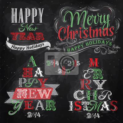 Frohe Weihnachten und Neujahr Schriftzug Sammlung von Weihnachts-t