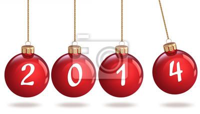Frohes Neues Jahr 2014 Weihnachtskugel