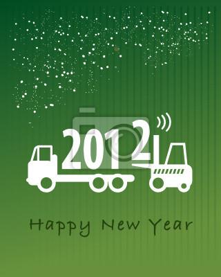 Frohes Neues Jahr-Grußkarte - Gabelstapler bei der Arbeit