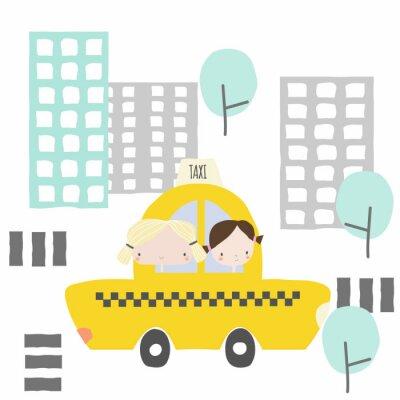 Sticker Fröhliche Freundinnen bei einer Taxifahrt in die Stadt.  Kindergrafik.  Vektor Hand gezeichnete Illustration.