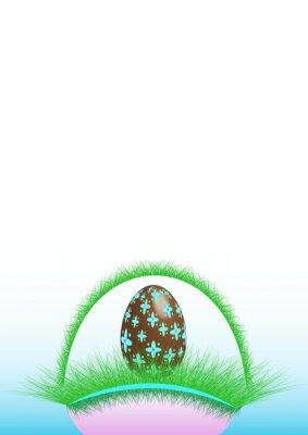 Fröhliche Ostern, dekoriertes Schokoladenei im grünen Korb