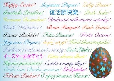 Fröhliche Ostern in allen Sprachen, mit farbigem Schokoladenei