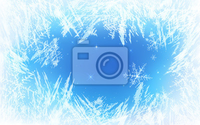 Sticker Frost pattern background. Frozen texture in winter (vector ice crystals) with snowflakes