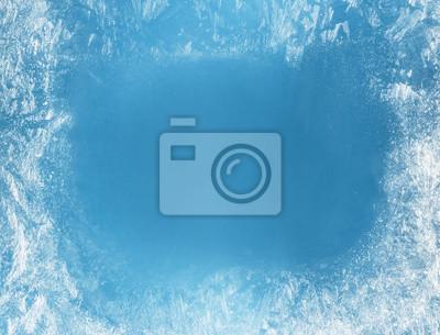 Sticker Frost patterns on frozen window as a symbol of Christmas wonder.
