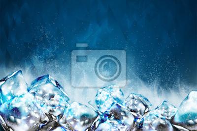 Sticker Frosty ice cubes background