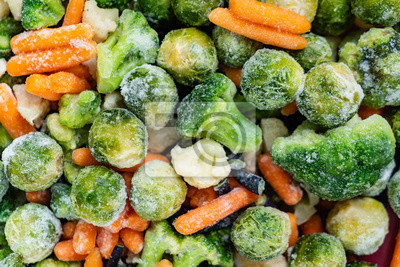 Sticker frozen vegetables closeup