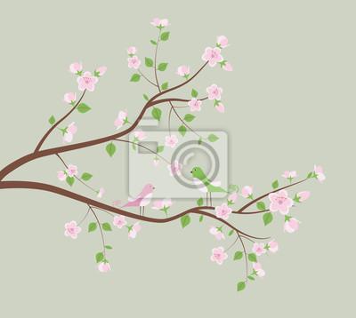 Frühling Baum mit Vögeln.