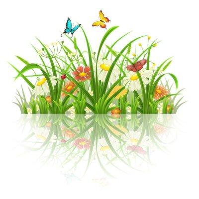 Sticker Frühling Gras, Blumen und Schmetterlinge mit Reflexion auf weiß
