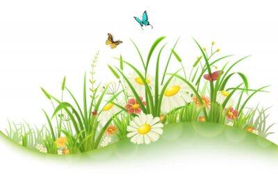 Sticker Frühling Sommer Wiese mit grünem Gras, Blumen und Schmetterlinge
