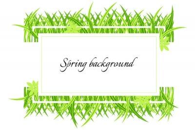 Frühlingsfahne mit Gras. Grüner Frühlingshintergrund mit Platz für Text. Karte für die Frühjahrssaison mit weißem Rahmen