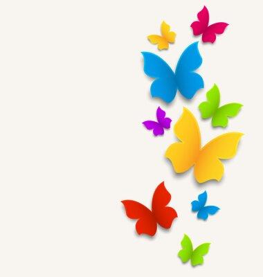 Sticker Frühlingskarte mit Schmetterlingen, bunte Zusammensetzung