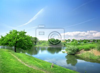 Frühlingslandschaft mit dem Fluss
