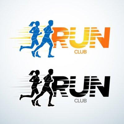 Sticker Führen Sie Vereinlogo-Schablone durch. Sport-Logo-Vorlage, Sport-Club, läuft Club und Fitness Vektor-Logo-Design-Vorlage. Mann und Frau Fitness.
