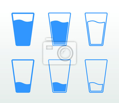 Sticker Full and empty glass of water flat icon set (single color, outline and fill)