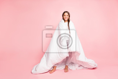 Sticker Full length body size view of her she nice attractive lovely cute cheerful cheery wavy-haired pre-teen girl covered with veil new cotton house collection isolated on pink pastel color background
