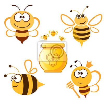 Funny Bee Und Honig Gesetzt Notebook Sticker Wandsticker