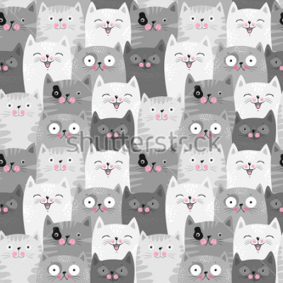 Sticker Funny grey cats, cute seamless pattern background