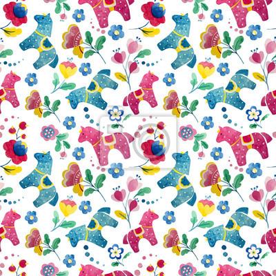 funny horse wallpaper pattern flower bird