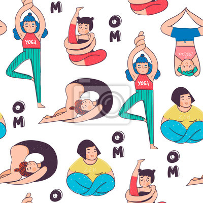 Funny yoga poses. Colored vector seamless pattern