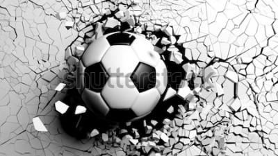 Sticker Fußball, der mit großer Kraft durch eine weiße Wand bricht. Abbildung 3d.