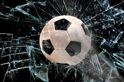 Sticker Fußball durch Glas.