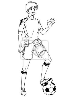 Fußball-Fußball-Spieler grüßt die Fans, Illustration, Logo, Tinte, schwarz und weiß, Kontur, isoliert auf einem weißen