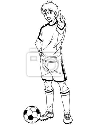 Fußball-Fußball-Spieler, Illustration, Logo, Tinte, schwarz und weiß, Kontur, isoliert auf einem weißen