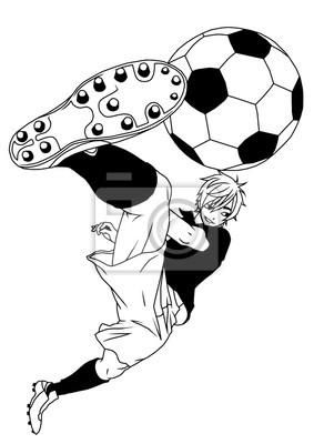 Fußball Fußball-Spieler treten den Ball, Illustration, Logo, Tinte, schwarz und weiß, Kontur, isoliert auf einem weißen