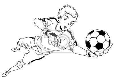 Fußball Fußball Torhüter fängt den Ball, Illustration, Logo, Tinte, schwarz und weiß, Kontur, isoliert auf einem weißen