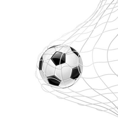 Sticker Fußball im Netz isoliert. Vektor