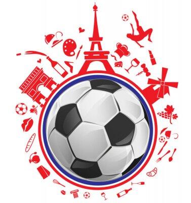 Sticker Fußball mit Frankreich-Symbol