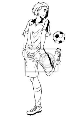 Fußball-Spieler-Training, Illustration, Logo, Tinte, schwarz und weiß, Kontur, isoliert auf einem weißen