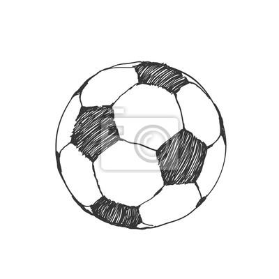Sticker Fussball Symbol Skizze Fussball Von Hand Gezeichnet In Doodles Stil
