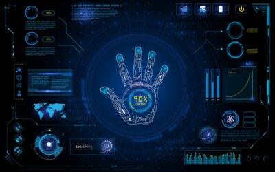 Sticker Futuristisch handscan identifizieren mit hud element interface screen monitor design hintergrundvorlage