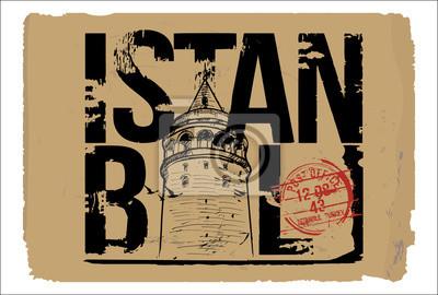 Galata Tower. Istanbul, Turkey city design. Hand drawn illustration.