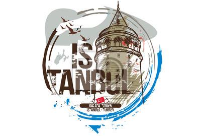 Galataturm. Istanbul, Türkei Stadt Design. Hand gezeichnete Illustration.