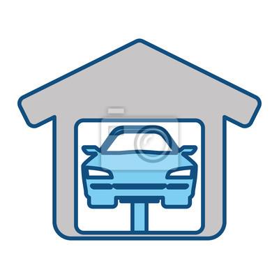 Garagentor design aufkleber  Garagentor mechaniker icon vektor-illustration grafik-design ...