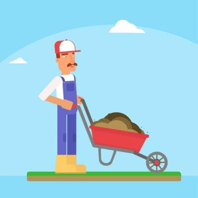 Gardener with wheelbarrow flat vector illustration