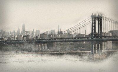Sticker Gealtertes monochromatisches Panorama von New York City