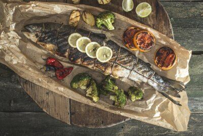 Sticker Gebratener Lachs und Gemüse