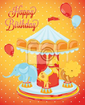 Geburtstag Karussell mit Tieren