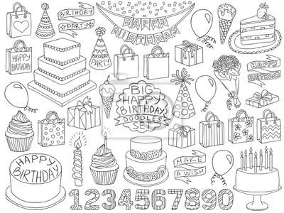 Geburtstag Kritzeleien gesetzt Geburtstag Kind Geburtstagskizze Symbole