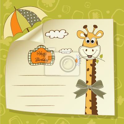 Geburtstags-Grußkarte mit Giraffe