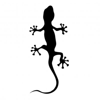 Sticker Gecko in der schwarzen Silhouette Vektor-Illustration