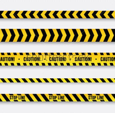 Sticker Gefahr und Polizeilinie. Gelbes Warnband. Vektor-Illustration